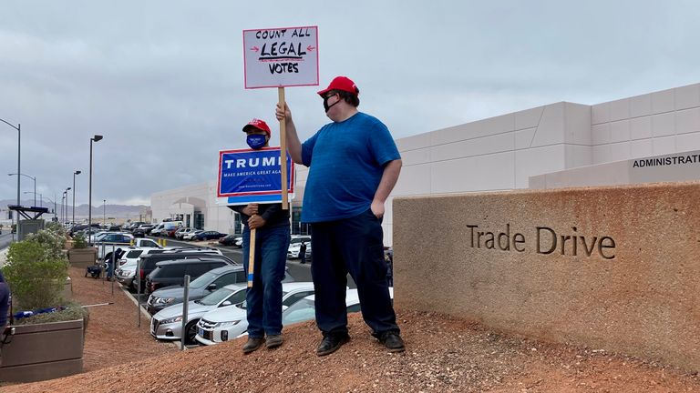 A trump supporter stands in a Pro Trump gathering in Las Vegas following the US 2020 Presidential Election. Pic: provided by Stuart Ramsay for eyewitness piece