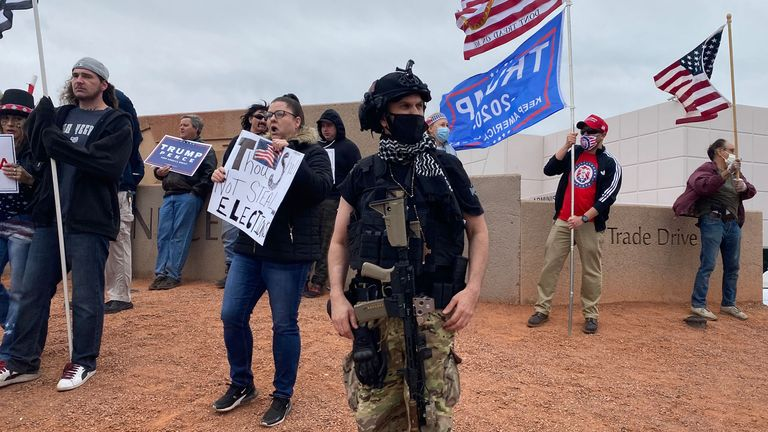 """""""Trumpers,"""" some armed, defend Trump's unfounded election fraud claims at a gathering in Las Vegas following the election. Pic: Provided by Stuart Ramsay for an eyewitness piece"""