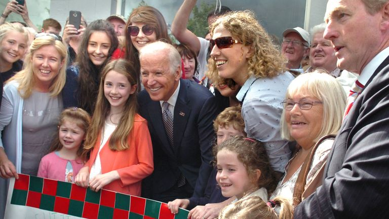 Joe Biden is pictured with distant cousins from County Mayo in Ireland