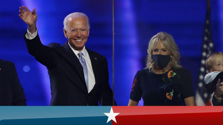 Joe and Jill Biden wave after presidential win