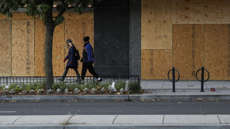 Businesses have been boarded up in Washington