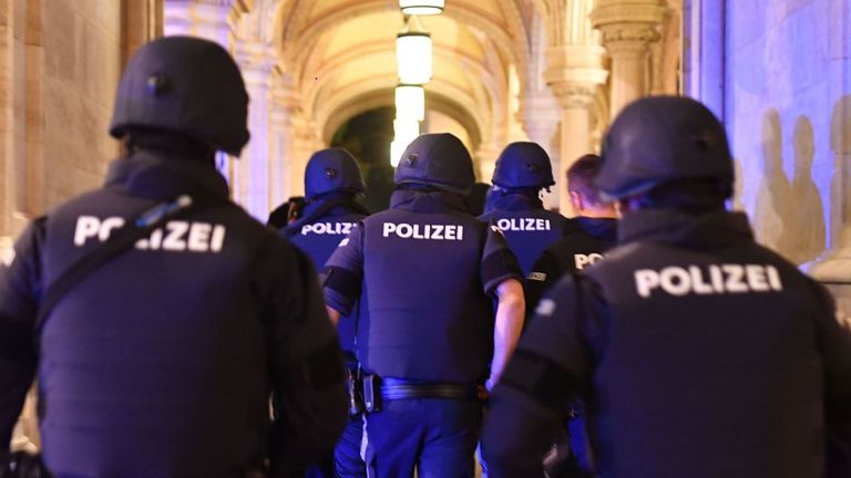Armed police controlling an area following the Vienna shooting yesterday that took the lives of four people by a synagogue
