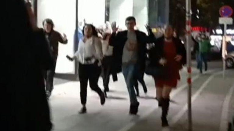 People flee during Vienna shootings