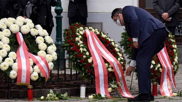 VIENNA, AUSTRIA - NOVEMBER 03: President of the Vienna Jewish Community Oskar Deutsch participates in a wreath laying ceremony in the city center the day after a deadly shooting spree on November 03, 2020 in Vienna, Germany. One gunman, identified as a Chechen man who had sworn alliance to the Islamic State (IS), was shot and killed by police after he ran shooting with a long gun through an area with restaurants and cafes. So far four people are confirmed dead and 17 wounded. Police are searchin