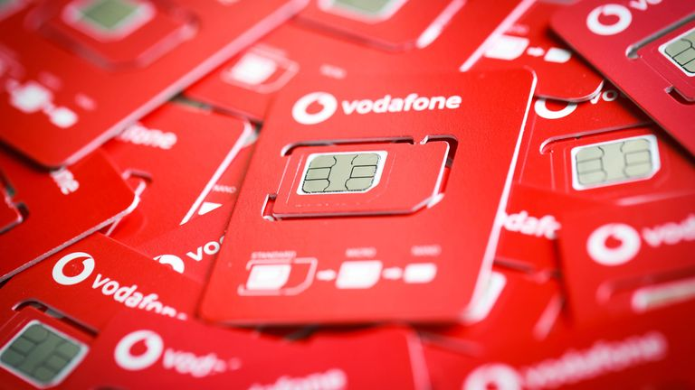 EDITORIAL USE ONLY The new half-sized SIM card holder from Vodafone that is launching from Christmas 2019, reducing the amount of plastic needed to produce their SIM cards 6/12/19