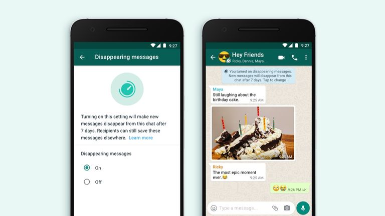 WhatsApp has introduced disappearing messages. Pic: Facebook