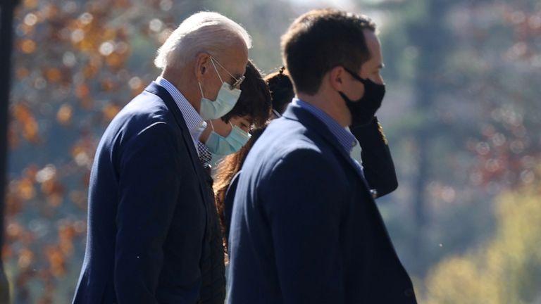 Joe Biden arrives at church in Wilmington, Delaware