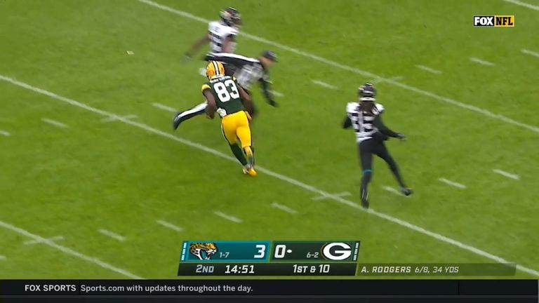 Green Bay Packers wide receiver Marquez Valdes-Scantling roams the globe on an amazing 78-yard touchdown, with a little help from the ref!