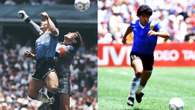 Diego Maradona's Hand of God and Goal of the Century against England