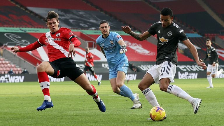 Mason Greenwood with an early chance for Man Utd