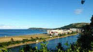 A view over Mooragh Park and the promenade of Ramsey in the Isle of Man.