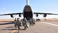 Three hundred British troops from the Light Dragoons and Royal Anglian Regiment arrive in Mali for a United Nations' peacekeeping tour. Pic credit: Ministry of Defence