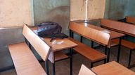 A school bag is pictured inside the Government Science Secondary School after it was attacked by armed bandits