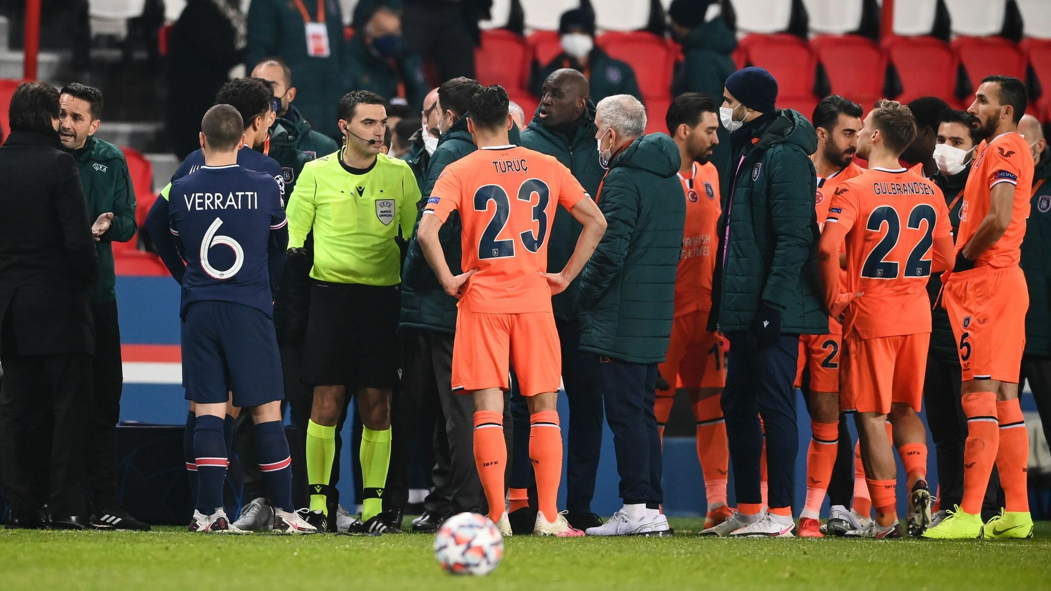 Champions League Psg Vs Basaksehir Suspended After Alleged Racist Slur By Match Official World News Sky News