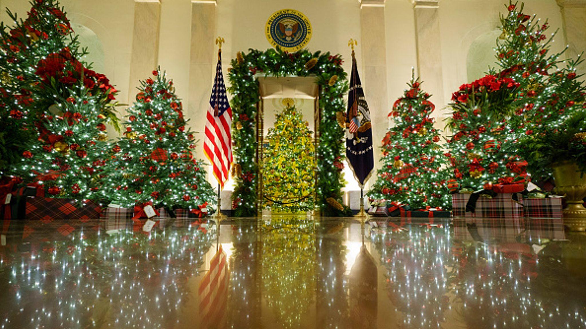 2021 White House Christmas Handmaids Melania Trump Unveils White House Christmas Decorations Weeks After Secret Recording Revealed Us News Sky News