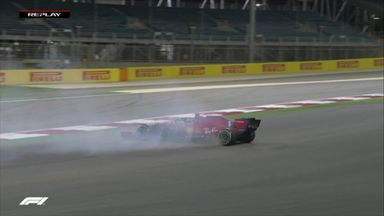 Vettel spins out at turn 2