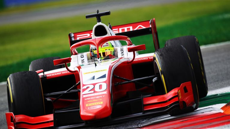 MONZA, ITALY - SEPTEMBER 06: Mick Schumacher of Germany and Prema Racing (20) drives during the sprint race for the Formula 2 Championship at Autodromo di Monza on September 06, 2020 in Monza, Italy. (Photo by Mark Thompson/Getty Images)