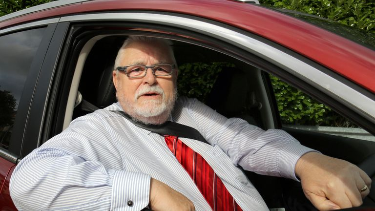 Lord Maginnis, arrives at Dungannon court house in his Honda CRV. The House of Lords peer has been convicted of assaulting a motorist in a road rage incident in Northern Ireland.
