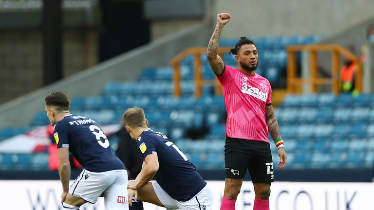 LONDON, ENGLAND - DECEMBER 05: Colin Kazim-Richards of Derby County raises his right fist during the Sky Bet Championship match between Millwall and Derby County at The Den on December 05, 2020 in London, England. A limited number of fans are welcomed back to stadiums to watch elite football across England. This was following easing of restrictions on spectators in tiers one and two areas only. (Photo by Jacques Feeney/Getty Images)