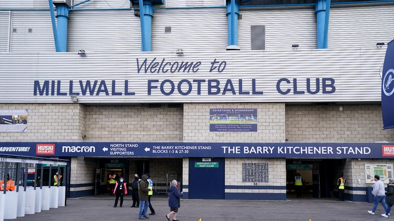 Fans arriving at the stadium before the Sky Bet Championship match at The Den, London.