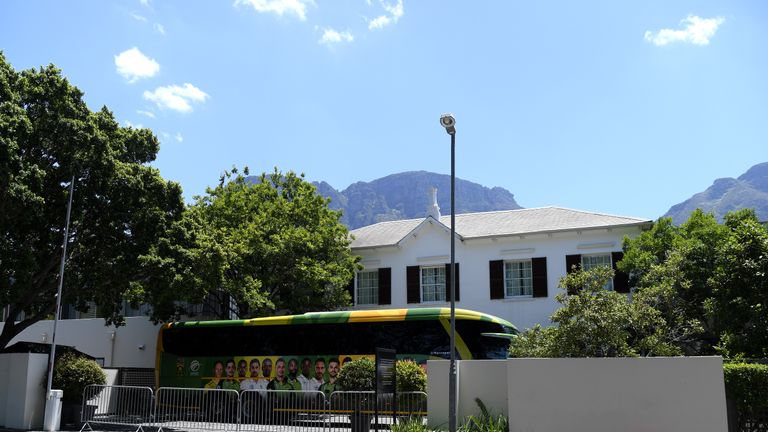PAARL, SOUTH AFRICA - DECEMBER 06:  A view outside the Vineyard Hotel where the England and South Africa teams are staying after the the 1st One Day International match between South Africa and England was cancelled at Boland Park on December 06, 2020 in Paarl, South Africa. (Photo by Shaun Botterill/Getty Images)