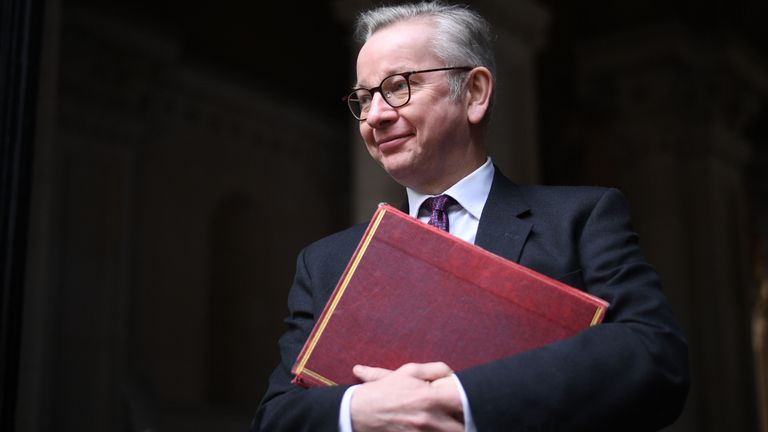 LONDON, ENGLAND - DECEMBER 08: Chancellor of the Duchy of Lancaster Michael Gove returns to Downing Street following a cabinet meeting on December 8, 2020 in London, England. The meeting came on the first day of the country's covid-19 vaccination campaign and amid a final push for a post-Brexit trade deal with the European Union. (Photo by Leon Neal/Getty Images)