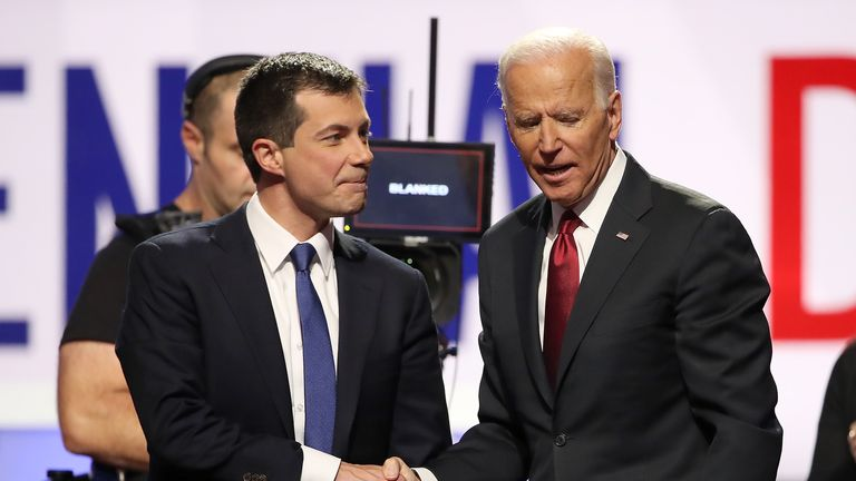 WESTERVILLE, OHIO - OCTOBER 15: South Bend, Indiana Mayor Pete Buttigieg and former Vice President Joe Biden shake hands after the Democratic Presidential Debate at Otterbein University on October 15, 2019 in Westerville, Ohio. A record 12 presidential hopefuls are participating in the debate hosted by CNN and The New York Times. (Photo by Win McNamee/Getty Images)