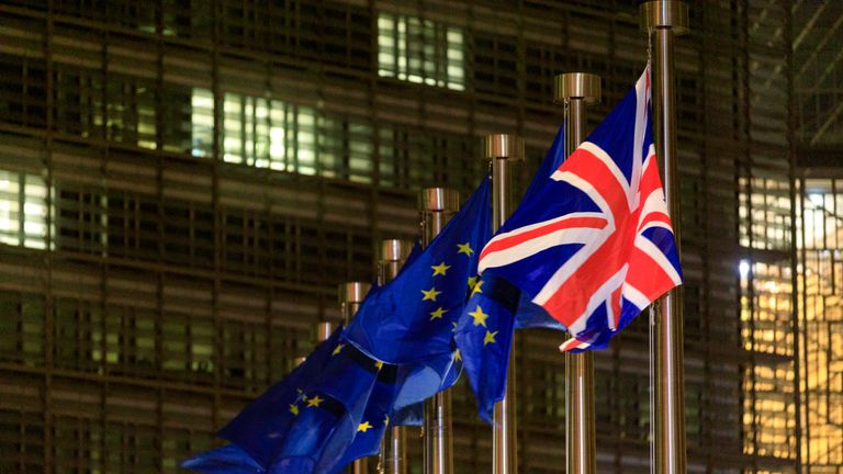 BRUSSELS, BELGIUM - DECEMBER 9: The European Union Flag and the Union Jack are seen in front of the Berlaymont, the EU Commission headquarter on December 09, 2020 in Brussels, Belgium. The British prime minister's visit marked his most high-profile involvement in the talks over a post-Brexit trade deal, which has remained elusive despite months of EU and UK negotiating teams shuttling between London and Brussels. (Photo by Thierry Monasse/Getty Images)