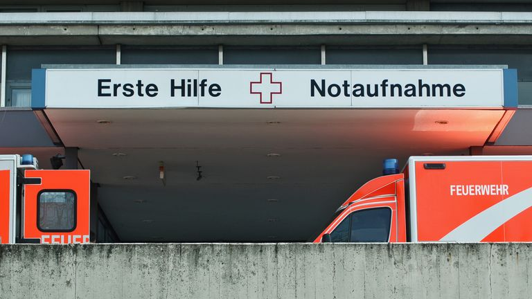 Berlin, Germany, 10th April, 2015, two ambulance cars in front of the emergency entrance of campus Benjamin-Franklin