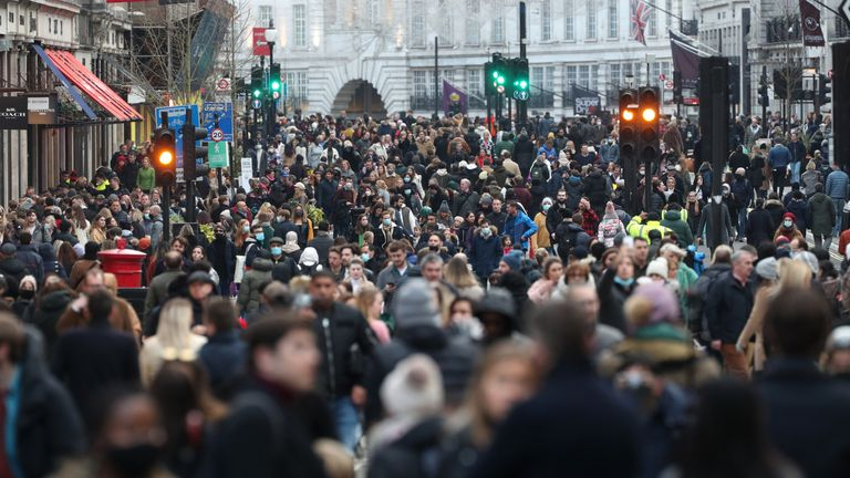 Shoppers on Regent Street in London on the first weekend following the end of the second national lockdown in England, with coronavirus restrictions being relaxed.