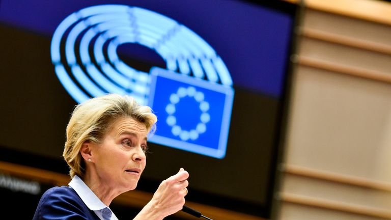 President of Commission Ursula von der Leyen delivers a speech during a session at the European Parliament, in Brussels, on December 16, 2020. (Photo by JOHN THYS / POOL / AFP) (Photo by JOHN THYS/POOL/AFP via Getty Images)