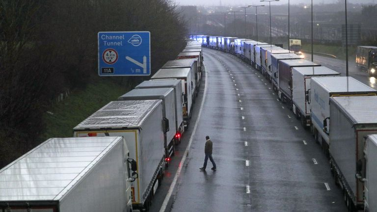 Lorries parked on the M20 near Folkestone, Kent, as part of Operation Stack after the Port of Dover was closed and access to the Eurotunnel terminal suspended following the French government's announcement that it will not accept any passengers arriving from the UK for the next 48 hours amid fears over the new mutant coronavirus strain.