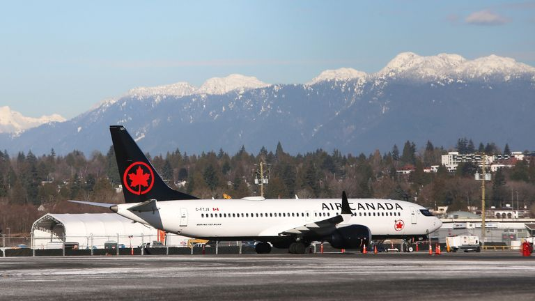 An Air Canada Boeing 737-8 Max airplane is pictured at Vancouver's international airport in Richmond, British Columbia, Canada, February 5, 2019.  REUTERS/Ben Nelms