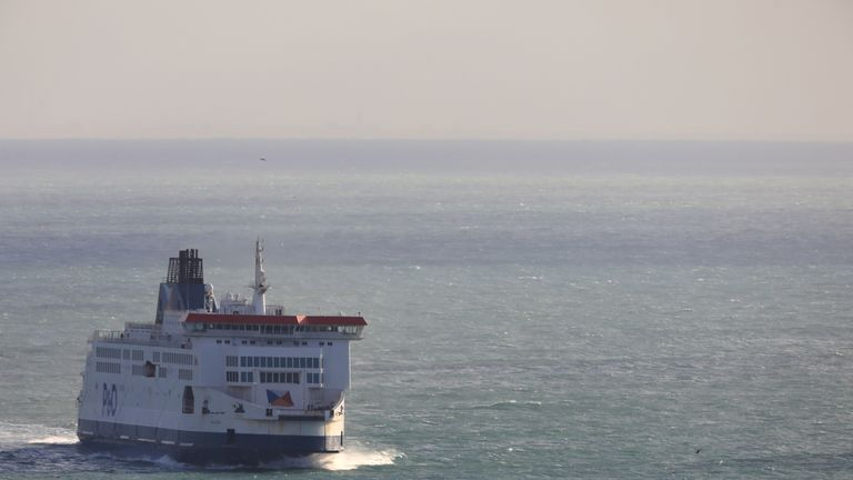 DOVER, ENGLAND - DECEMBER 24: Ferries cross the English Channel on December 24, 2020 in Dover, United Kingdom. Travel from the UK to France gradually resumed on Wednesday morning after being suspended for more than two days due to concerns about a new strain of covid-19. The British government deployed its Track and Trace team to administer Covid-19 tests to lorry drivers  waiting to cross at Dover. (Photo by Dan Kitwood/Getty Images)