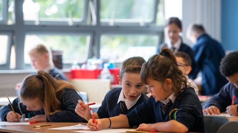 Children in class on the first day back to school at Arbours Primary Academy in Northampton, as schools in England reopen to pupils following the coronavirus lockdown.