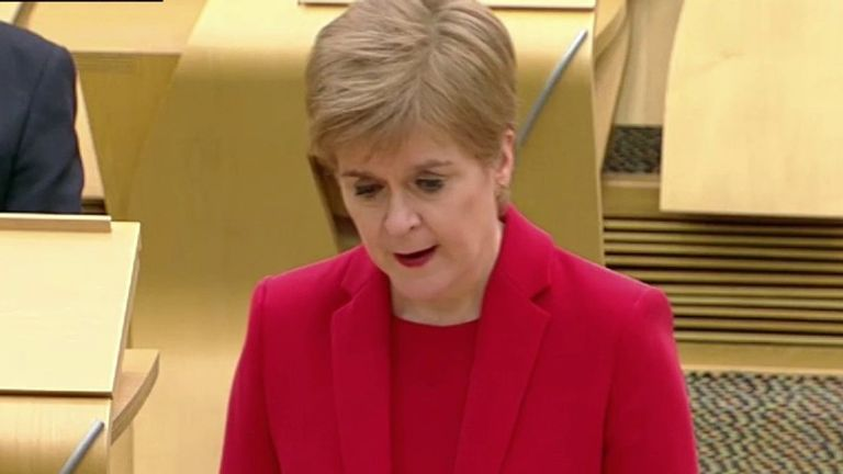 Scotland's first minister Nicola Sturgeon confirms Glasgow and other areas moving from Level 4 to 3 on Friday.