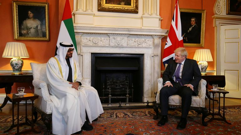 Boris Johnson met the crown prince of Abu Dhabi, Mohammed Bin Zayed Al Nahyan, for talks on a range of issues including climate change, security and trade.