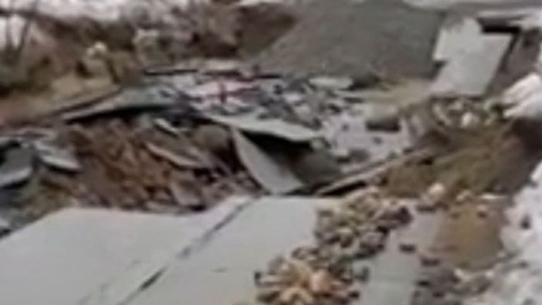 Mudslides destroy buildings and road in Alaska