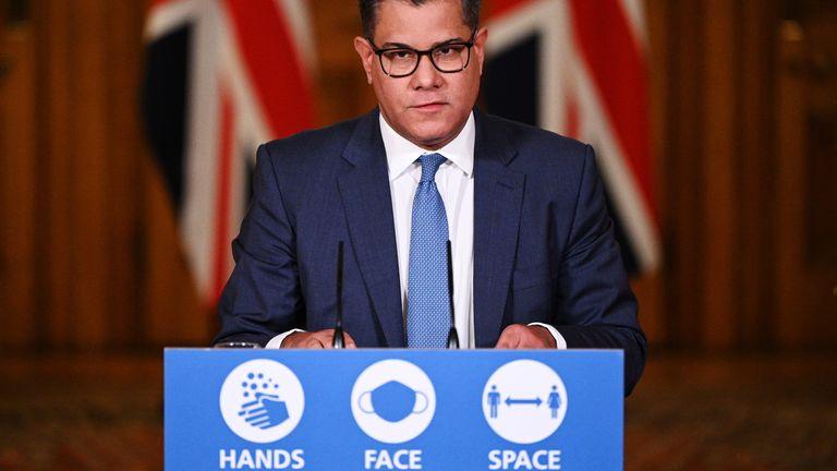 Britain's Business Secretary Alok Sharma speaks during a virtual news conference, amid the coronavirus disease (COVID-19) outbreak, at 10 Downing Street, in London, Britain November 12, 2020. Leon Neal/Pool via REUTERS