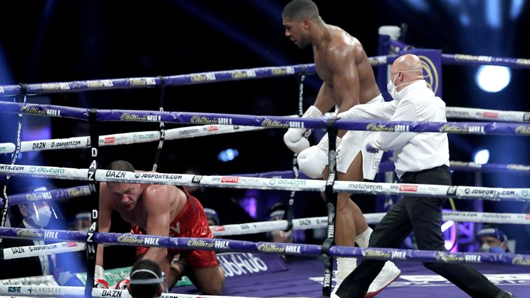 Kubrat Pulevis is knocked to the floor in the ninth round