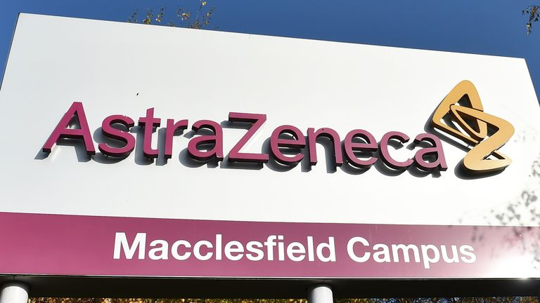 MACCLESFIELD, ENGLAND - NOVEMBER 07: A sign is seen outside AstraZeneca Millcourt center as the company targets for delivery of UK Covid vaccine by the end of 2020 on November 07, 2020 in Macclesfield, England.