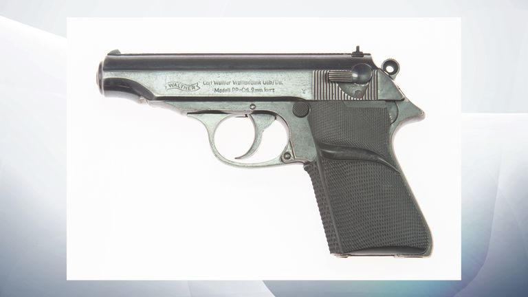 Undated handout photo issued by Julien's Auctions of a pistol used by Sir Sean Connery in the first James Bond film Dr No which has sold at auction for 256,000 dollars (£190,000), part of their Icons & Idols: Trilogy sale.