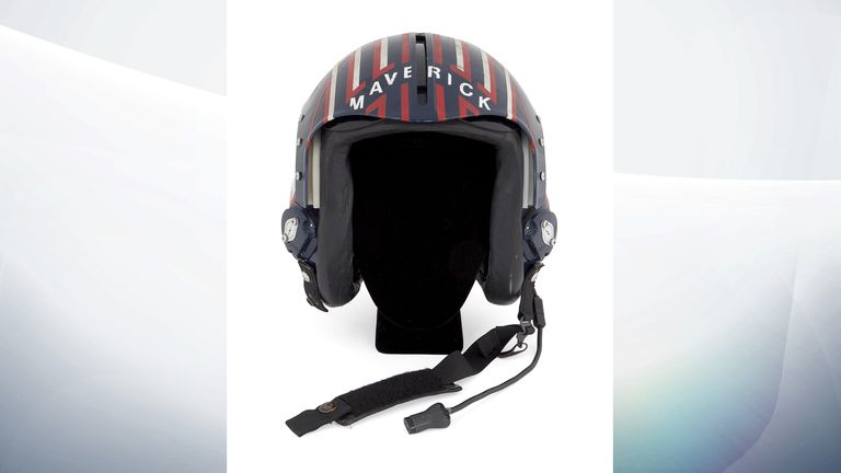 Undated handout photo issued by Julien's Auctions of one of the production fighter pilot helmets used for Tom CruiseÕs role as Pete ÒMaverickÓ Mitchell in 1980s classic action film Top Gun which sold for 108,000 dollars (£80,000), part of their Icons & Idols: Trilogy sale.