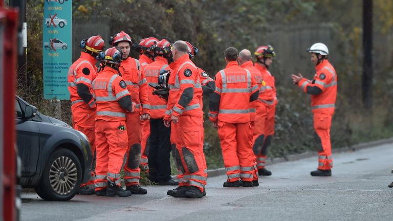 Search and rescue crews at the scene in Avomouth, Bristol, as fire crews, police and paramedics are responding to a large explosion at a warehouse where there have been multiple casualties.