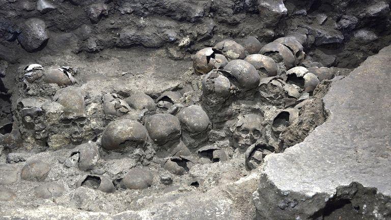 Part of an Aztec tower of human skulls