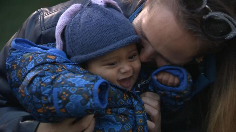 New mother Kim Howells with her baby Indigo