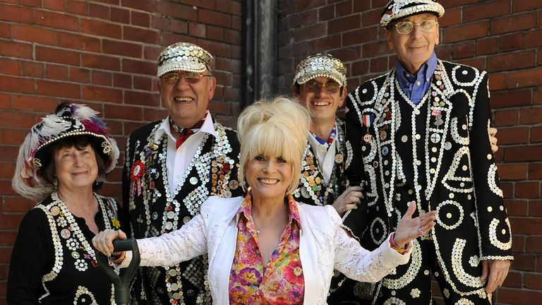 Barbara Windsor with pearly kings and queens