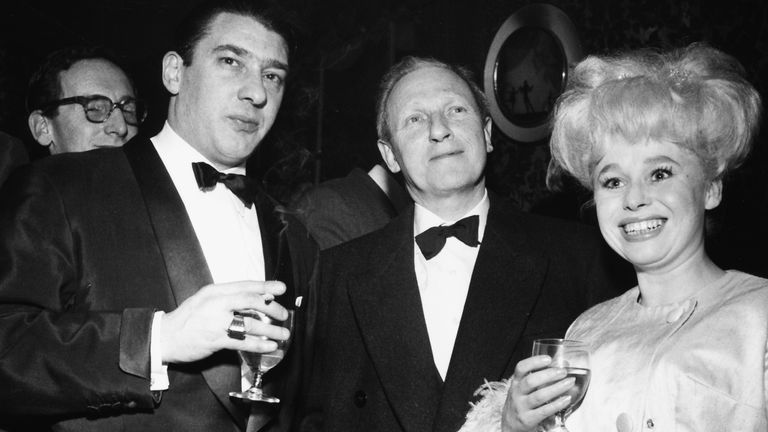 Portrait of actress Barbara Windsor with notorious East End gangster Ronnie Kray (left), London, circa 1960. (Photo by Keystone/Hulton Archive/Getty Images)