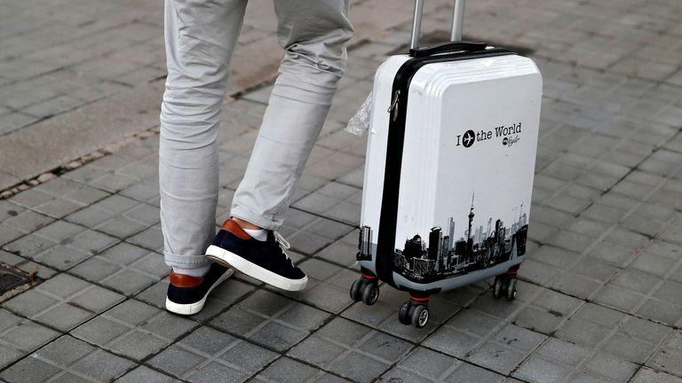 A tourist in Barcelona, Spain November 23, 2020. Picture taken November 23, 2020