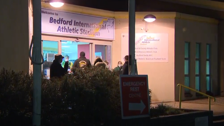 A refuge centre has been set up in Bedford International Athletic Stadium